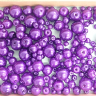 200 Assorted Sizes 4mm 6mm 8mm 10mm Glass Pearl Beads Purple
